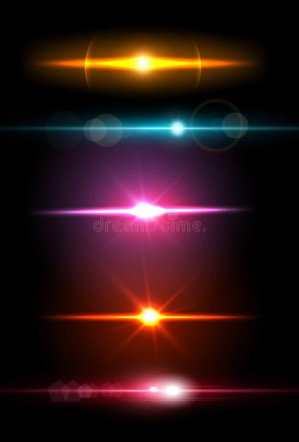 Realistische lichte glansfonkeling, hoogtepuntreeks Inzameling van mooie heldere lensgloed Verlichtingsgevolgen van flits stock illustratie
