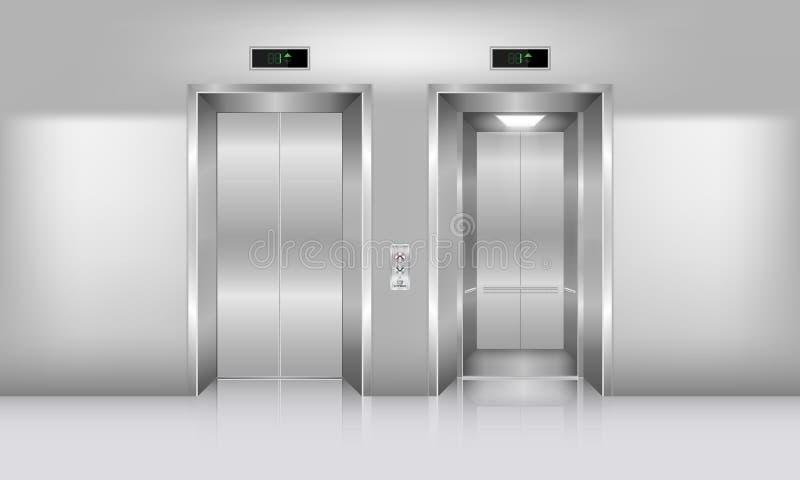Realistische lift in de bureaubouw , Binnenlands concept, Vector stock illustratie