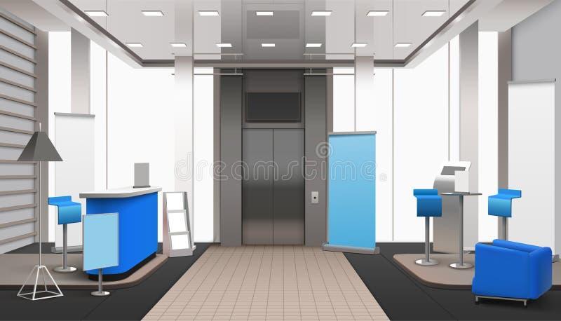 Realistische Lobby-blaue Innenelemente stock abbildung