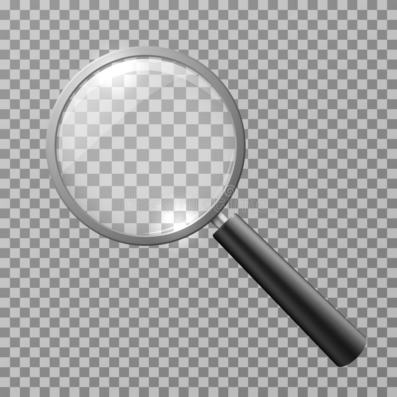 Realistische Lupe auf karierter Hintergrundvektorillustration stock abbildung