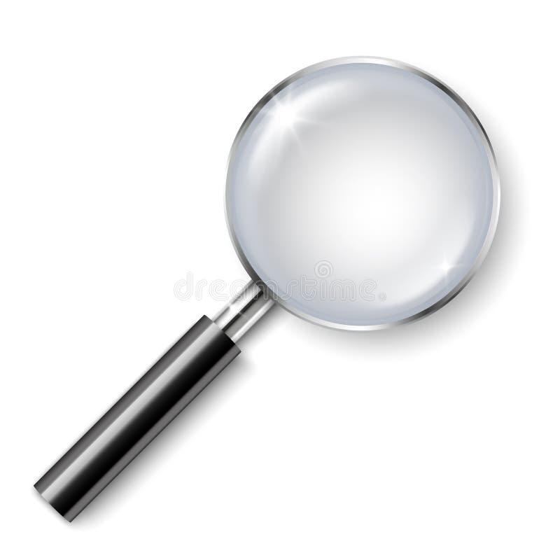 Realistische Lupe des Vektors mit dem Schatten lokalisiert auf weißem Hintergrund lizenzfreie abbildung