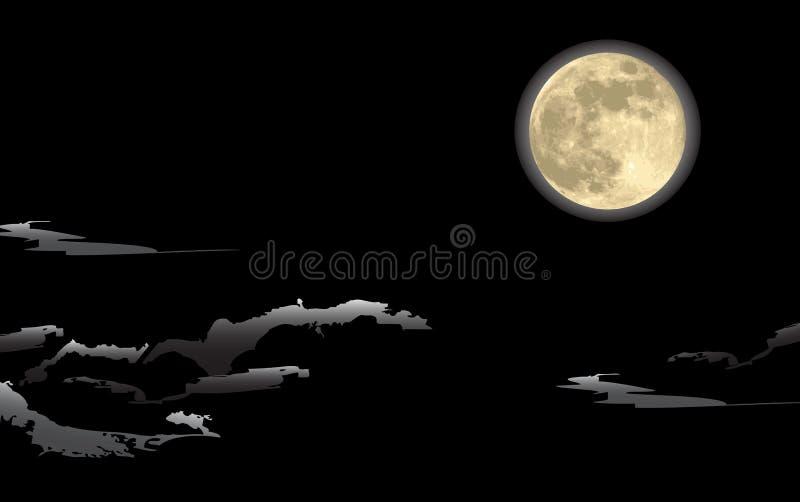 Realistische maan, in een donkere nacht vector illustratie