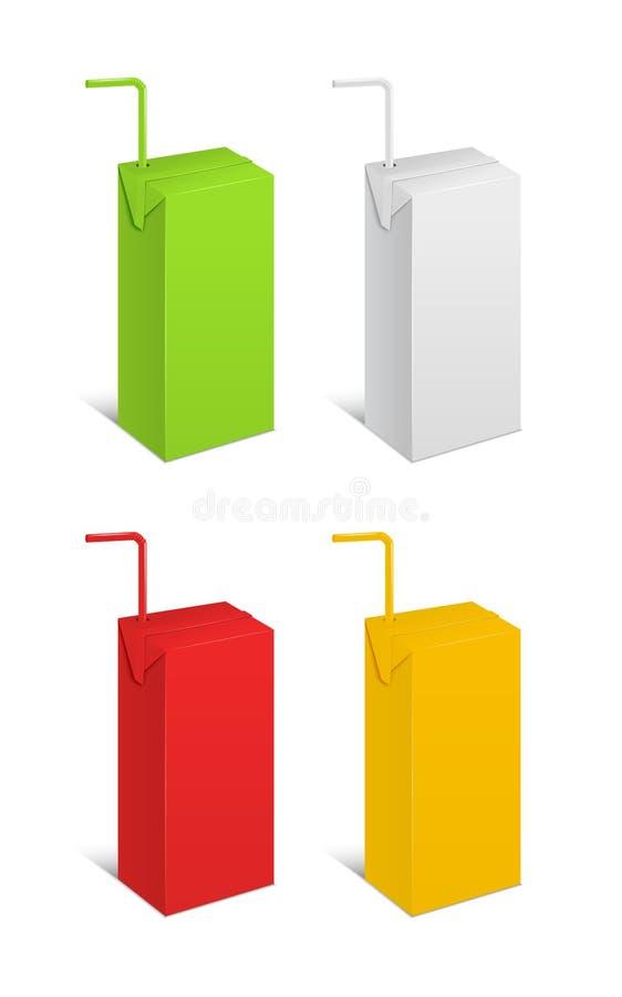 Realistische Malplaatje Lege Kleur Juice Pack Vector vector illustratie