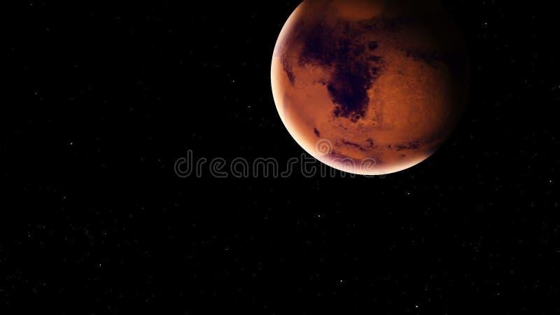 Realistische Mars met meteorieten van diepe ruimte vector illustratie
