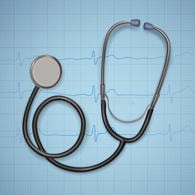 Realistische Medische stethoscoop achtergrond met stethoscoopmedische apparatuur, Gezondheidszorgconcept Vector art vector illustratie