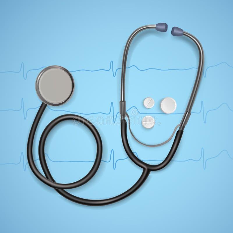 Realistische Medische stethoscoop achtergrond met stethoscoopmedische apparatuur, Gezondheidszorgconcept Vector art royalty-vrije illustratie