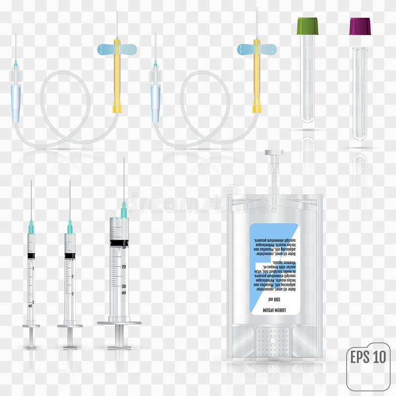 Realistische medizinische Bedarfe Für Blutsammlungssatz kurz stock abbildung