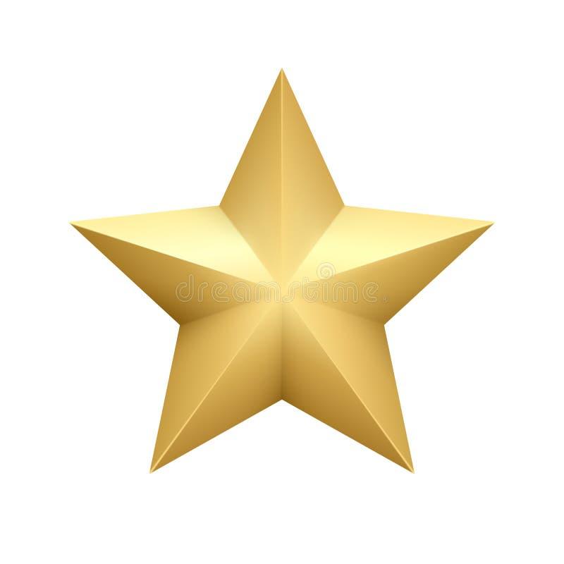 Realistische metaal gouden die ster op witte achtergrond wordt geïsoleerd Vector illustratie stock illustratie