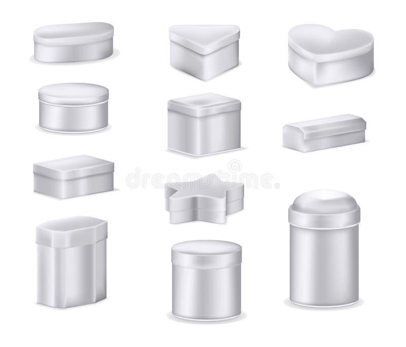 Realistische Metallbox-Mockup-Set Behälter aus Aluminium lizenzfreie abbildung