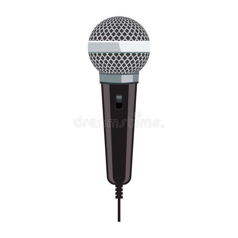 Realistische Microfoon voor Karaoke met het vlakke ontwerp van de kleurenstijl stock illustratie
