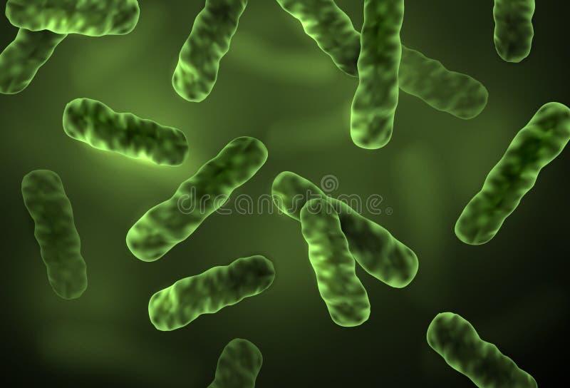 Realistische mikroskopische grüne Bakterienzellen des Vektors mit unscharfem Hintergrund - medizinische Illustration lizenzfreie abbildung
