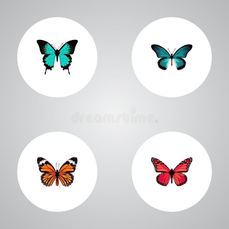 Realistische Monarch, Azure Peacock, Koper en Andere Vectorelementen De reeks Motten Realistische Symbolen omvat ook Sinaasappel stock illustratie