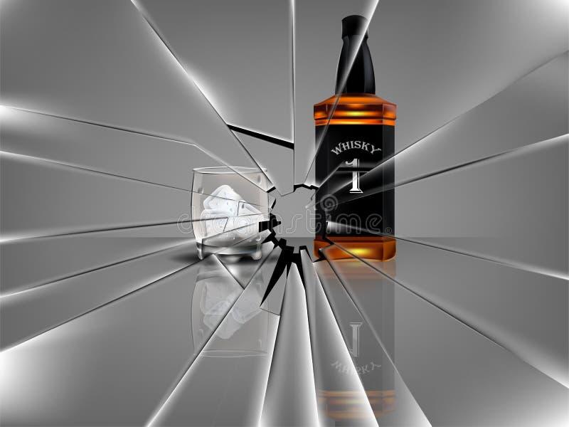 Realistische mooie whiskyfles met mooi glas whisky en ijs, gebroken glasscène royalty-vrije illustratie