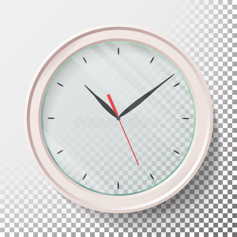Realistische Muurklokken Geplaatst Vectorillustratie Transparant gezicht Zwarte handen Klaar van toepassing te zijn Grafisch elem vector illustratie