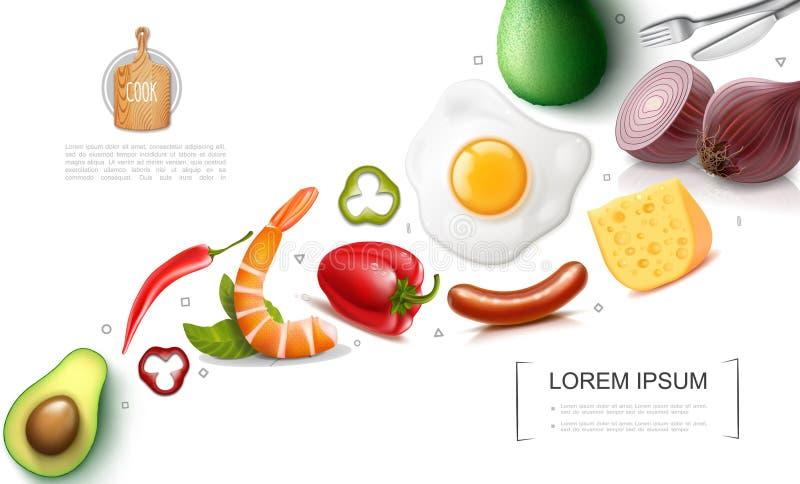 Realistische Nahrungsmittelbuntes Konzept vektor abbildung