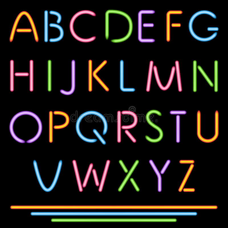 Realistische Neonröhre-Buchstaben. Alphabet, ABC, Guss. Mehrfarben vektor abbildung
