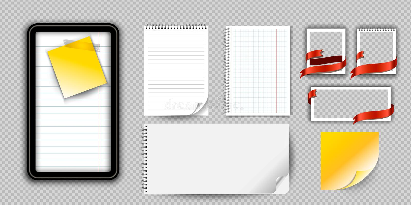 Realistische notitieboekje of blocnote met geïsoleerd bindmiddel Het stootkussen of de agenda van de memorandumnota met gevoerde  stock illustratie