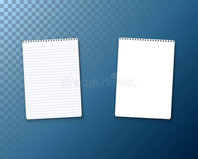 Realistische Notizblock-Lehrbuch-Ikone des Vektor-freien Raumes Vektor-Notizblock-Schablonen-Satz stock abbildung