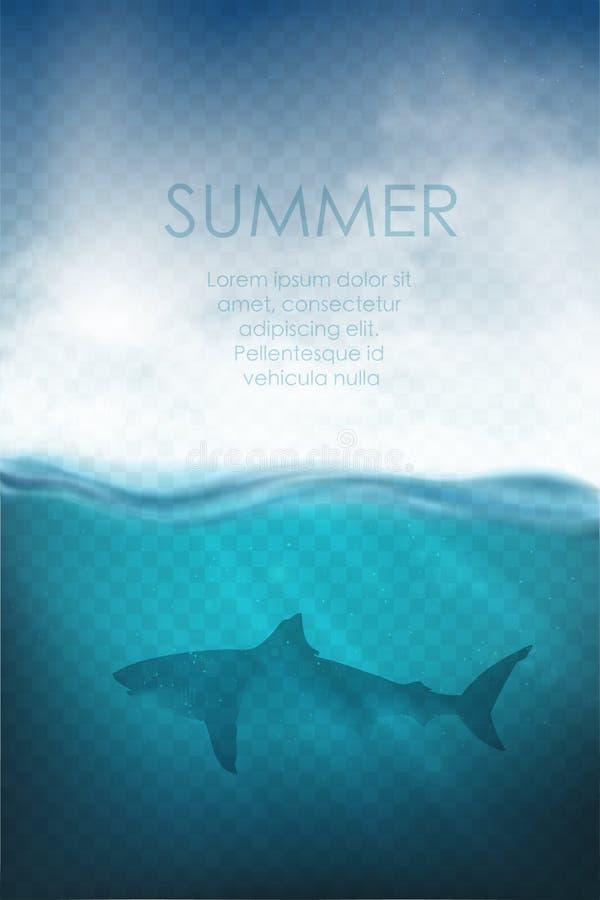 Realistische onderwatervector met haai en overzees vector illustratie