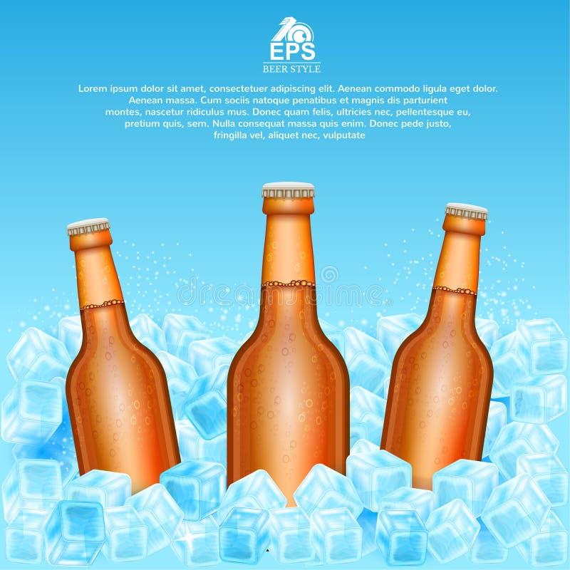 Realistische onechte omhoog bruine fles drie bier in ijsblokjes op blauw royalty-vrije illustratie
