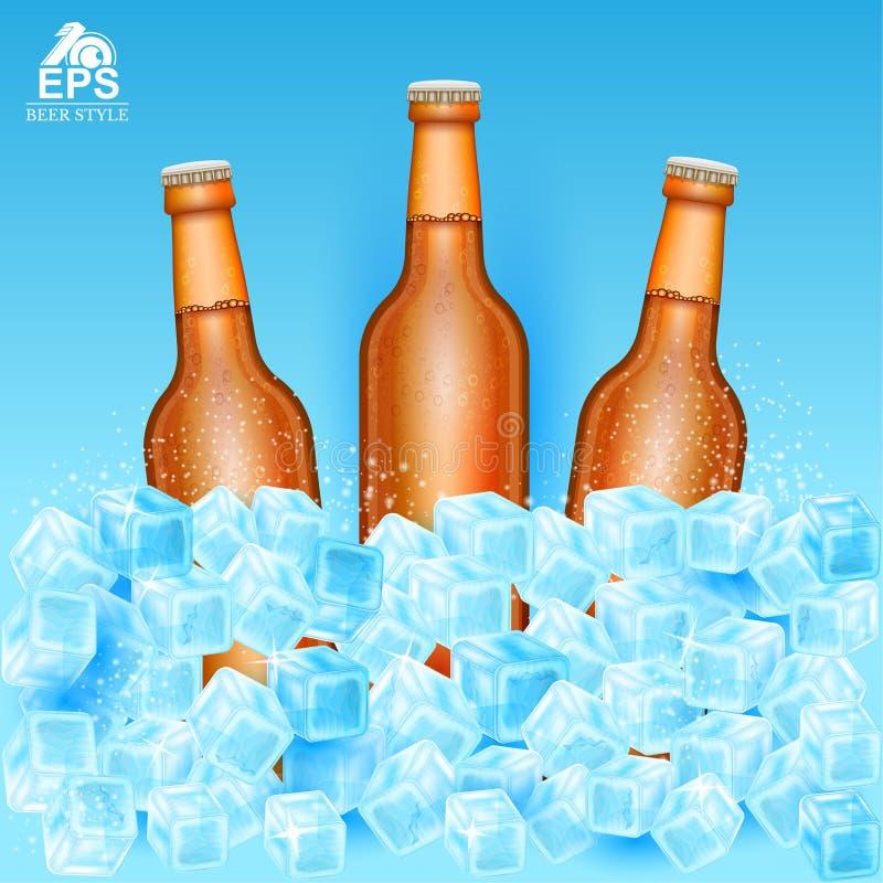 Realistische onechte omhoog bruine fles drie bier onder ijsblokjes op blauw stock illustratie