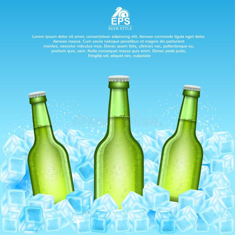 Realistische onechte omhoog groene fles drie bier in ijsblokjes op blauw stock illustratie