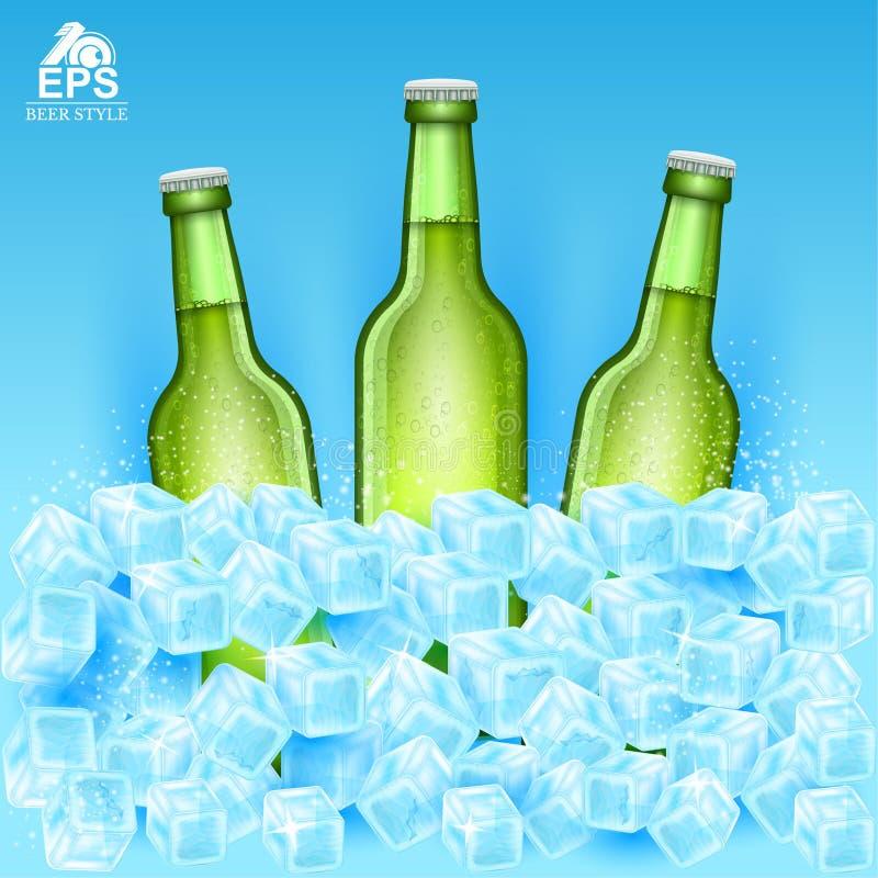 Realistische onechte omhoog groene fles drie bier onder ijsblokjes op blauw stock illustratie
