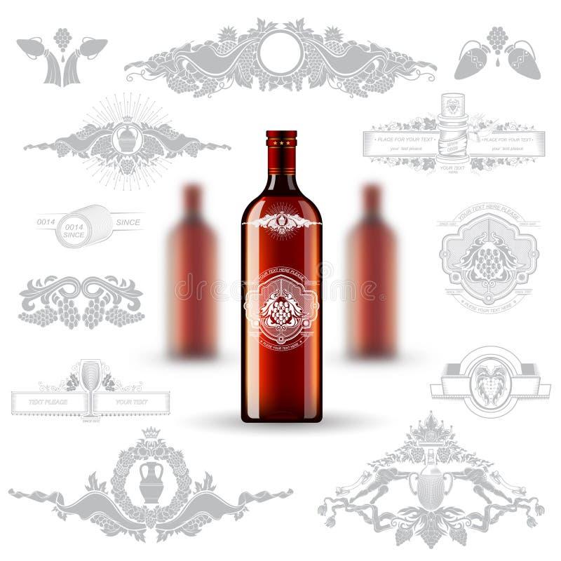 Realistische onechte omhoog rode fles drie cognac en reeks silhouetetiketten op witte achtergrond stock illustratie