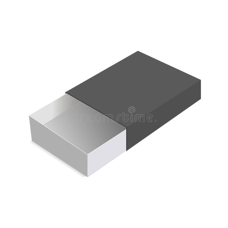 Realistische Paketpappe, die geöffneten Kasten schiebt Für kleine Einzelteile, Match und andere Sachen Auch im corel abgehobenen  stock abbildung