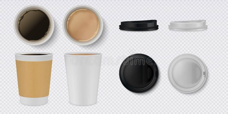 Realistische Papierkaffeetasse weißes und braunes Becher- und Schalenmodell 3D mit Draufsicht Getränkbehältersatz des Vektorcafés stock abbildung
