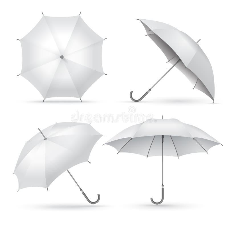 Realistische paraplu Witte regen of zon open paraplu's Geïsoleerdee vectorillustratie stock illustratie