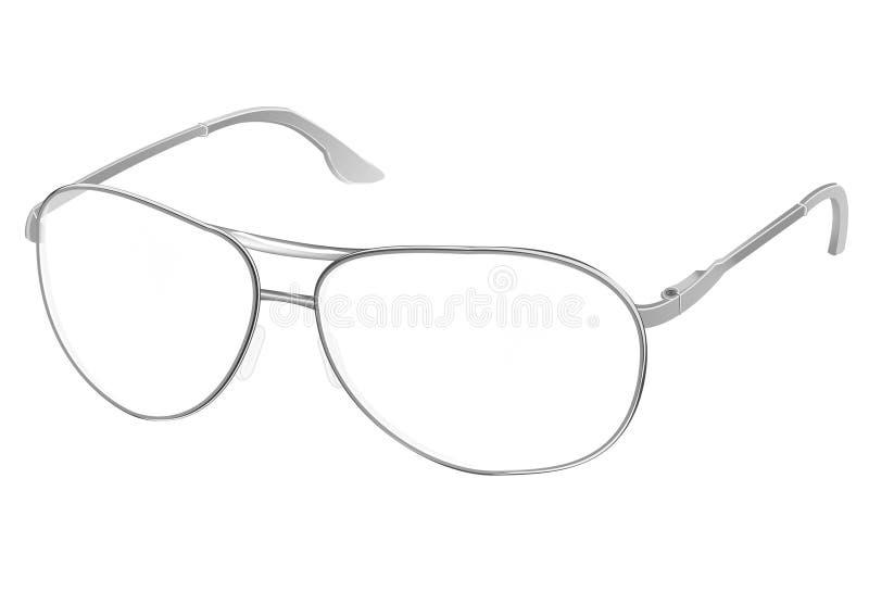 Realistische PC-Gläser mit den transparenten weißen runden Linsen lokalisiert auf Hintergrund, Vektor illustratio lizenzfreie abbildung