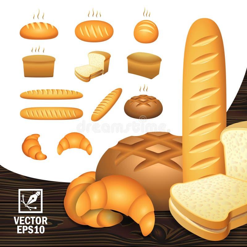 Realistische pictogrammen geplaatst bakkerijproducten van verschillend hoekenbrood, gesneden brood, een brood, een ongezuurd broo stock illustratie
