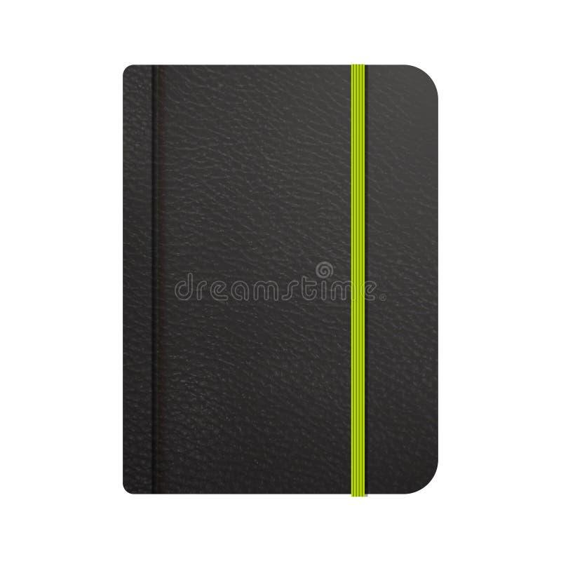 Realistische pictogrammen van zwarte leerblocnote Modieus notitieboekje met referentie voor uw ontwerpproject stock illustratie