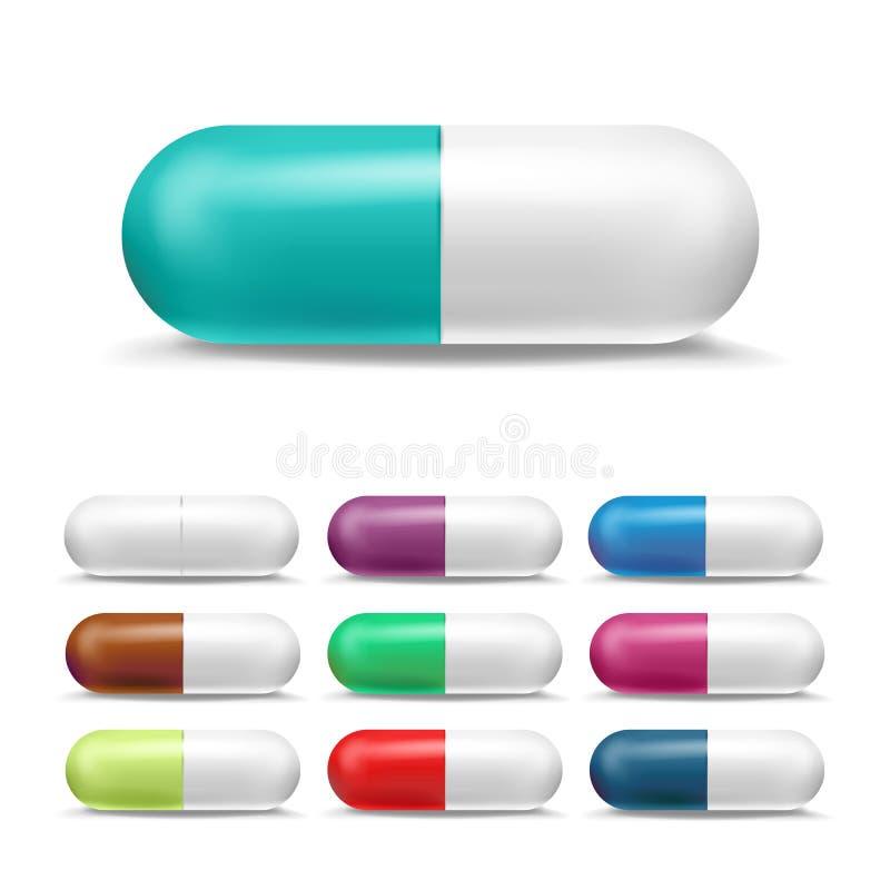 realistische Pillen eingestellter Vektor 3D Farbiges Schmerzmittel, pharmazeutische Antibiotika Farbmedizin-Kapsel-Pille in zwei  lizenzfreie abbildung