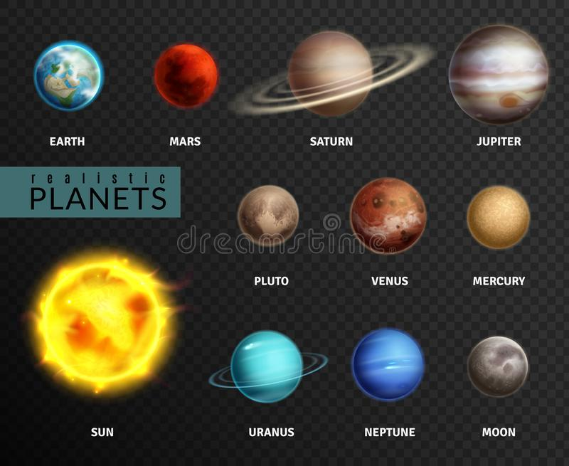 Realistische Planeten Sonnensystemplanetenraumuniversumgalaxiesonnenmondsaturn-Quecksilberjupiter-Venuskomet Uranus Pluto stock abbildung