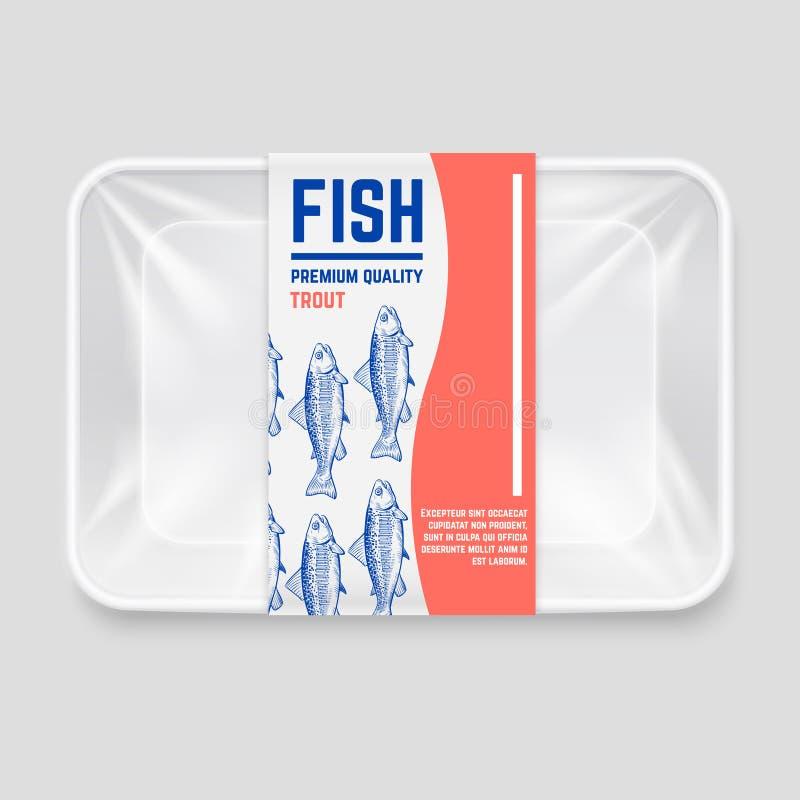 Realistische plastic container met het hand getrokken vectorontwerp van het vissenetiket stock illustratie