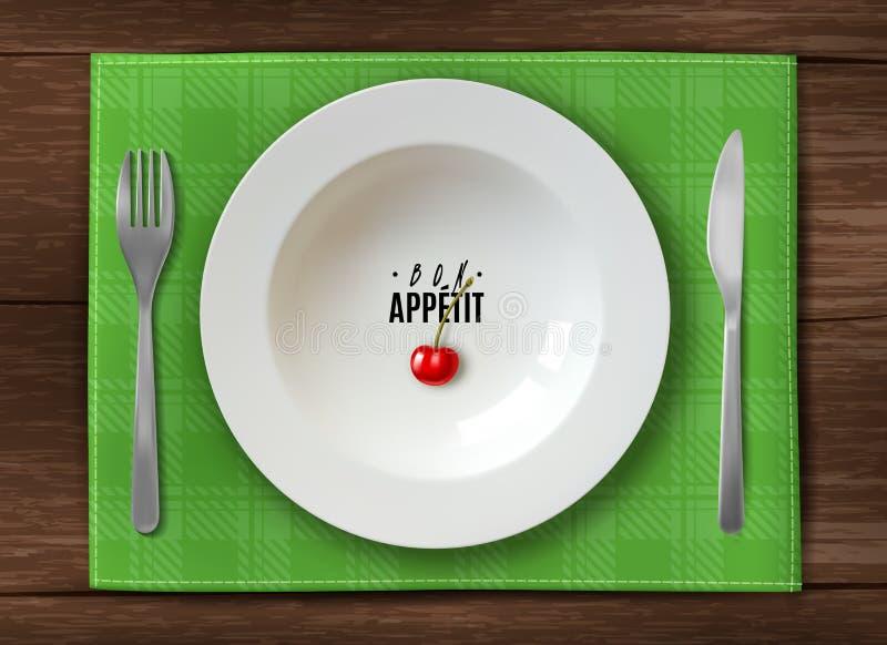 Realistische Plattenumhüllung weiße saubere Platte auf Holztisch mit Messer und Gabel, die Ihnen Bon appetit grünes kariertes wün stock abbildung
