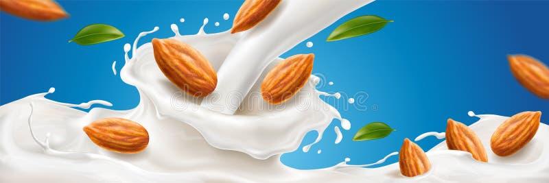 Realistische plons van amandelmelk met noten stock illustratie