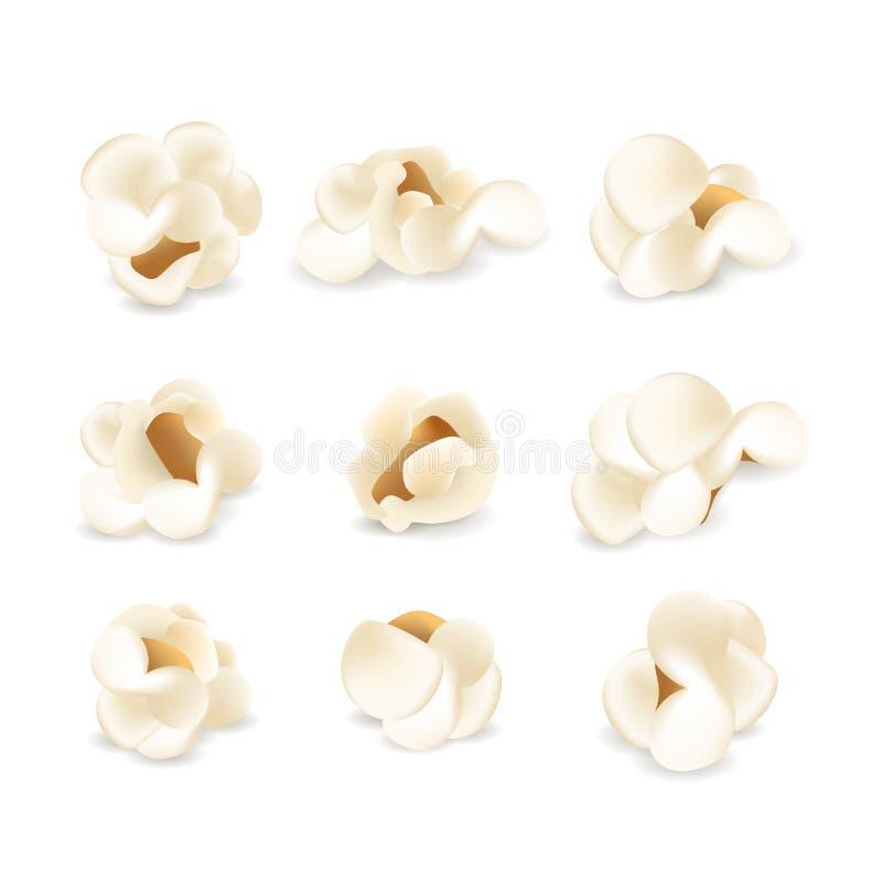 Realistische Popcornreeks Inzameling van witte pluizige popcornelementen of pictogrammen stock afbeeldingen
