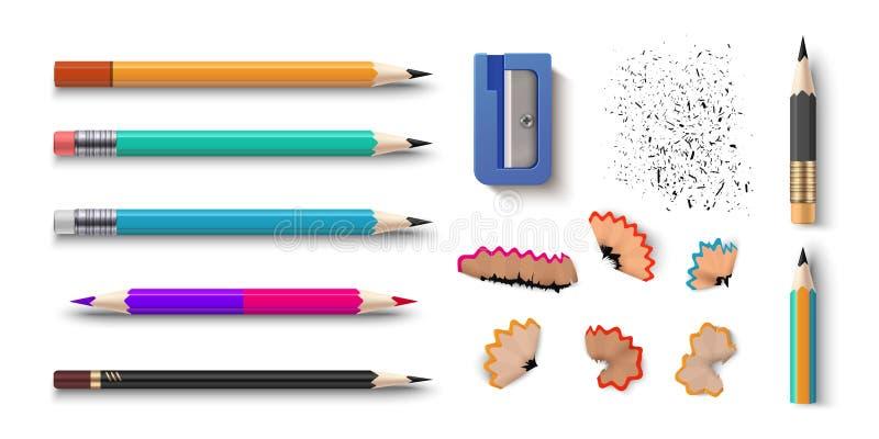 Realistische Potloden 3D gekleurde schoolkantoorbehoeften met slijper en spaanders Vectorgrafiet gescherpte potlodenreeks van stock illustratie