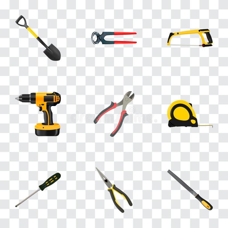 Realistische Quetschwalzen, Elektroschrauber, Längen-Roulette und andere Vektor-Elemente Satz Werkzeug-realistische Symbole auch vektor abbildung