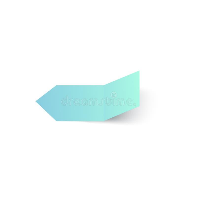 Realistische rechthoeksticker, kleverig die notadocument etiket in de helft wordt gevouwen royalty-vrije illustratie