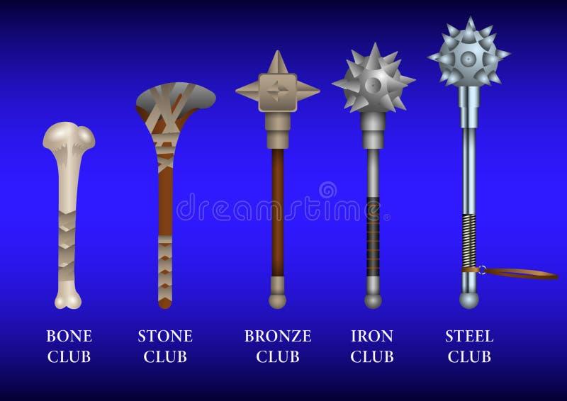 Realistische reeks historische het vechten Clubs: been, steen, brons, ijzer, staal vector illustratie