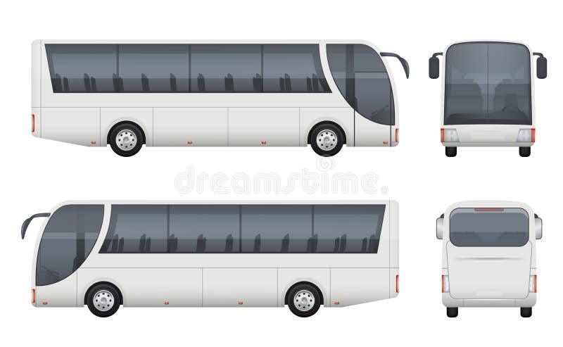 Realistische reisbus Van de het modellading van toerismeautobus van het de auto de voor zijaanzicht vectorbeelden geplaatst geïso royalty-vrije illustratie