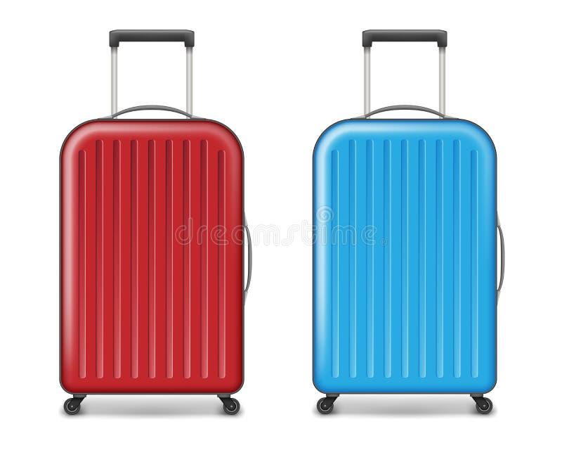Realistische rode en blauwe grote reis plastic koffer polycarbonaatkoffer met wielen op wit worden geïsoleerd dat reiziger stock illustratie