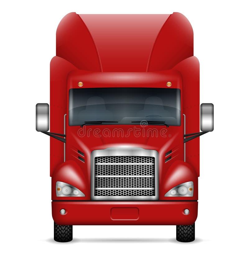 Realistische rode vrachtwagen vectorillustratie royalty-vrije illustratie