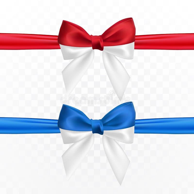 Realistische rode witte en blauwe witte boog Element voor decoratiegiften, groeten, vakantie Vector illustratie stock illustratie