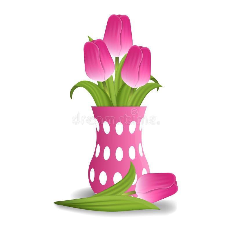 Realistische rosa Tulpen im Vase lokalisiert auf weißem Hintergrund Boucket von Tulpen Vektorabbildung für Ihr design stock abbildung
