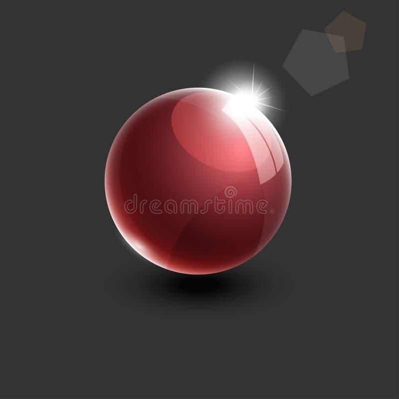 Realistische rote Vektorillustration der Glaskugel 3d stock abbildung